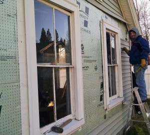 This is what all the windows looked like before starting the project. Siding and flashing removed, windows still in place