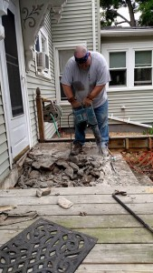It took a long time with a drill hammer -- a small version of a jackhammer -- to bust up the top couple steps.