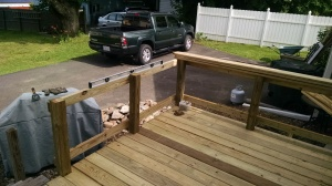 Decking and the beginning of the railing